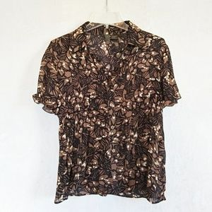 Sere Nade blouse brown and cream.  Women's M